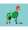 Hockey Dog Mascot in Green Sportswear vector image vector image