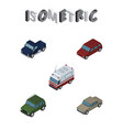 isometric transport set of suv auto car and vector image vector image