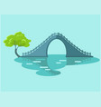 lunar bridge with green tree in taiwan flat icon vector image vector image