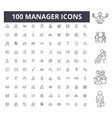 manager line icons signs set outline vector image vector image