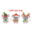 merry christmas and happy new year 2020 three vector image vector image