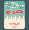 merry christmas card on winter background poster vector image vector image