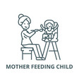 mother feeding child line icon linear vector image vector image