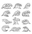 ocean wave sketches set weather marine storm vector image vector image