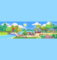 people in park leisure with family in nature vector image vector image