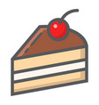 piece of cake filled outline icon food and drink vector image vector image