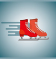 red pair ice skate blurred color background vector image vector image