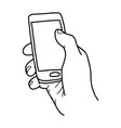 right hand holding small mobile phone vector image vector image