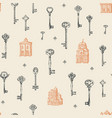 seamless pattern with old buildings and vintage vector image vector image