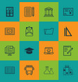 set of 16 education icons includes document case vector image vector image