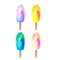 set of foil ice on stick ice cream with a blurry vector image