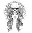 shaman woman with a long hair and human skull on vector image