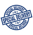special delivery blue round grunge stamp vector image vector image
