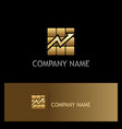 square arrow progress gold business logo vector image