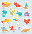 sticker set with underwater hidden treasures vector image
