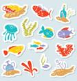 sticker set with underwater hidden treasures vector image vector image