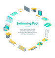 swimming pool elements 3d banner card circle vector image vector image