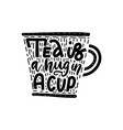 tea party linear calligraphy hand drawn lettering vector image