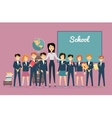 Teacher and Pupils near Chalkboard Back to School vector image