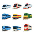 train locomotive set railway carriage vector image vector image