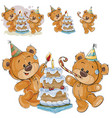 two brown teddy bears in vector image