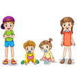 Two kids and two infants vector image vector image