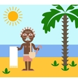 Vacation of retired man on the beach under the sun vector image vector image