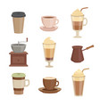 various sorts coffee cups in cartoon style vector image vector image