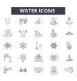 water line icons signs set linear vector image
