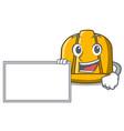 with board construction helmet character cartoon vector image