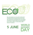 world environment day 5 june poster vector image