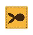 yellow emblem fish icon vector image vector image