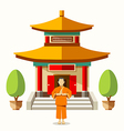 Building of China with china monks vector image