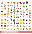 100 beer feast icons set flat style vector image vector image