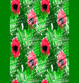 abstract red flowers on green with grunge vector image vector image