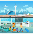 airport interior family hall departure terminal vector image
