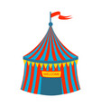 blue and red stripy circus tent part of amusement vector image vector image