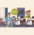 businessman holding tablet speech chat bubble icon vector image vector image