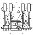 camping trailer with tent and bonfire on nature vector image