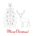 Christmas tree and reindeer vector image vector image