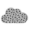 cloud shape of airplane intercepter icons vector image