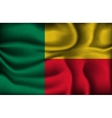crumpled flag benin on a light background vector image vector image
