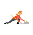 curling english sport woman with curling-broom vector image