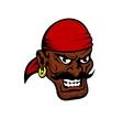 Fierce dark-skinned cartoon pirate character vector image vector image
