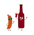 funny beer bottle and frankfurter sausage vector image vector image