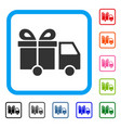 gift delivery van framed icon vector image vector image
