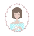 Girl Character Avatar in oval floral frame vector image vector image