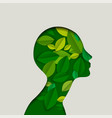 green paper eco friendly woman face with leaves vector image