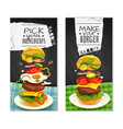 hamburger vertical banners vector image vector image