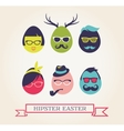happy hipster easter - set stylish eggs icons vector image